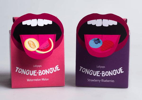 Ambalaža za bombone u obliku jezika.
