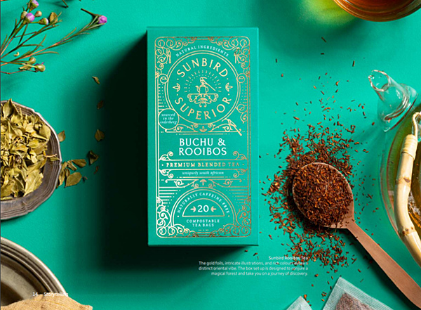 """Ceai Sunbird Rooibos cu grafică orientală pe ambalaj, cu intenția de a duce consumatorul """"într-o călătorie a aromelor"""" printr-o pădure magica."""